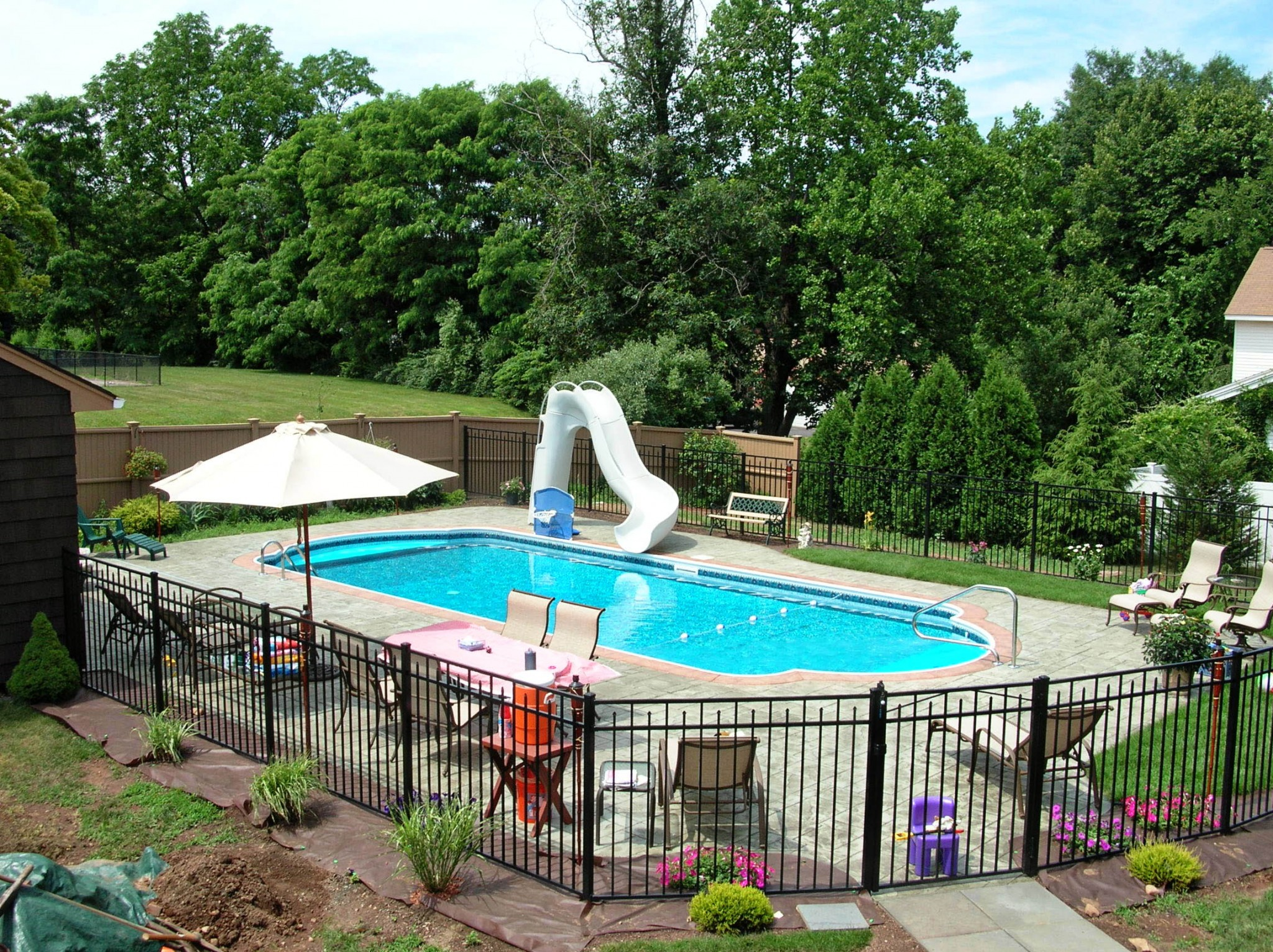 Inground Pool Patio Designs best 25 semi inground pools ideas on pinterest semi inground pool deck small inground pool and stone around pool Inground Pool Fence Ideas Saveemail Guardian Pool Fence Systems Swimming Pools Simple Inground Pool Designs